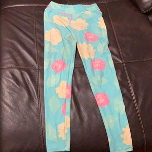 Teal flower print leggings